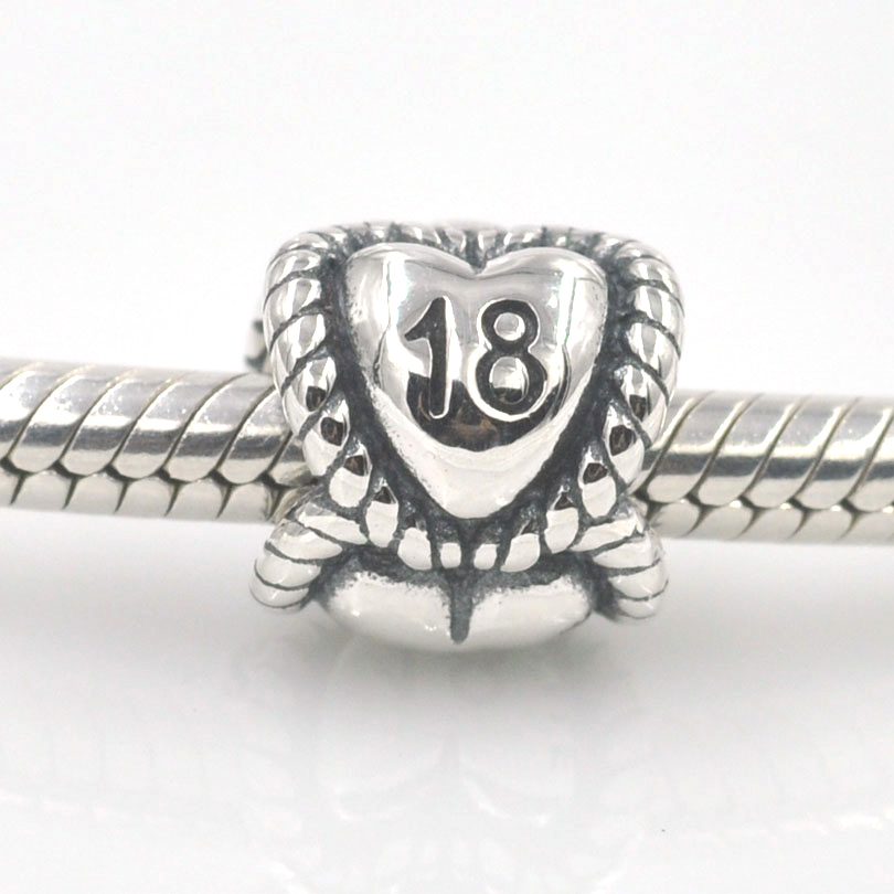 18th Birthday Milestone Charm Silver Beads Fits Pandora