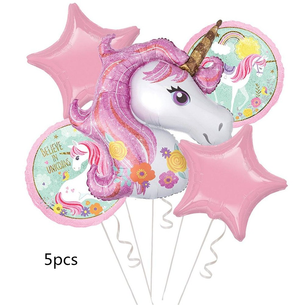 Partigos Unicorn Theme Balloons 18 Inch Star Round Balloon Birthday Party Decor Kids Rainbow