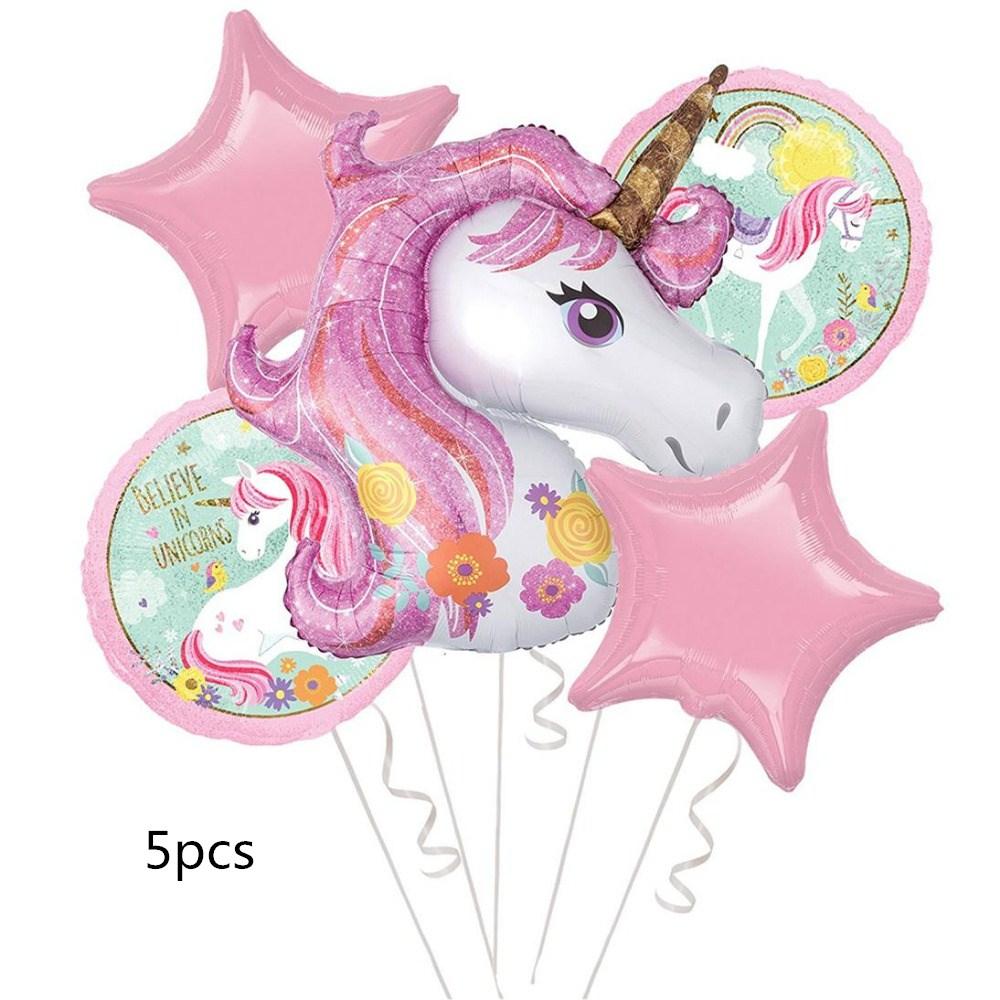 Partigos unicornio globos 18 pulgadas estrella redonda globo decoración fiesta de cumpleaños del arco iris globos fiesta suministros