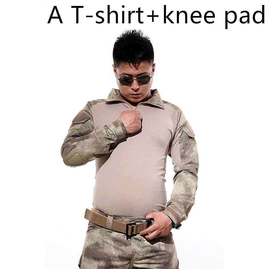 屋外迷彩軍服米陸軍戦闘シャツ貨物マルチカムペイントボールエアガン militar 戦術服膝パッド