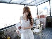 Fashion White Women Chiffon Lace Shift Dress Crochet Hem Vestidos Sleeveless Mini Dress Vestidos Femininos Femme