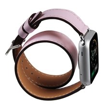New Pink Genuine Leather Smart Watch Band Double Loop Strap Bracelet Replacement Wristband with Adapter Clasp for Apple Watch