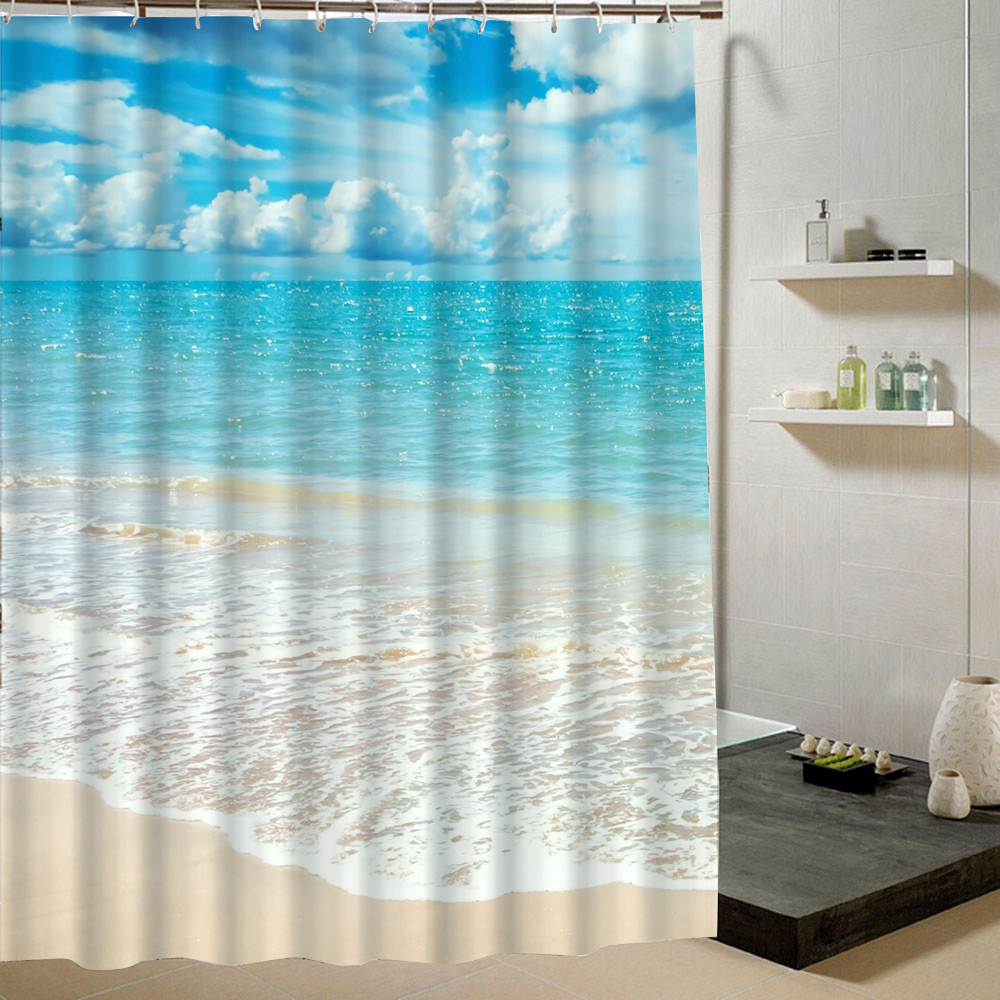 Summer beach shower curtain blue green pattern 3d printing for Summer bathroom decor