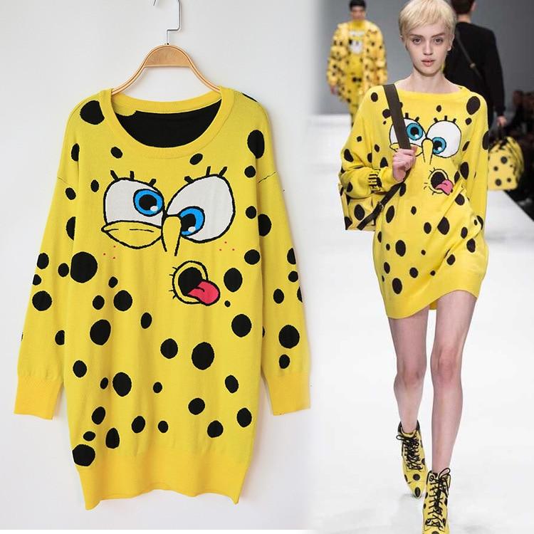 Europe and American 2017 Knitting Cute Cartoon Spongebob Winter Sweater Dress Loose Casual Long Feminino Pullover Women Sweater