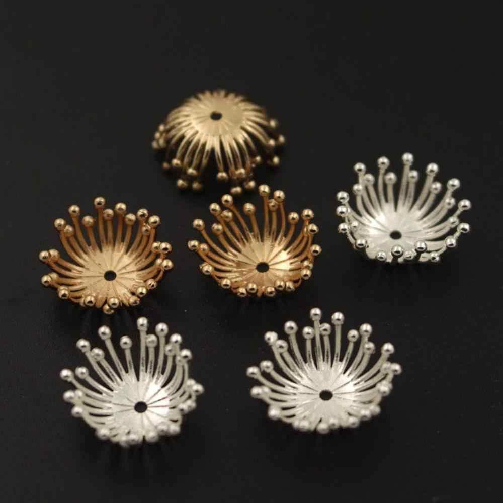 18mm Metal Brass Stamping Filigree Pistil Stamens Flower Ball Pins Bead Caps DIY Charms for Jewelry Making