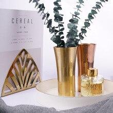 Moderna Chic Hexagon Rose Gold Förvaringstrumpor Pennahållare Europeisk Rostfritt Stål Blom Machine Blomma Vase Metall Förvaring Jar