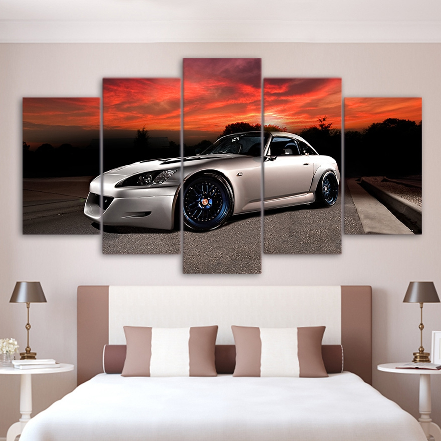 Canvas Painting Wall Art Frame Home Decor Pictures 5 Pieces Roadster Luxury Sports Car Poster For Living Room HD Printed PENGDA