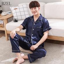 BZEL Short Sleeve Pajamas Sets Summer Sleepwear Casual Home Wear Silk Satin Pyjamas Two Piece Set