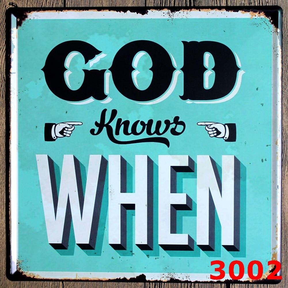 god knows when large vintage license plate metal signs home decor office restaurant bar metal painting - Metal Signs Home Decor