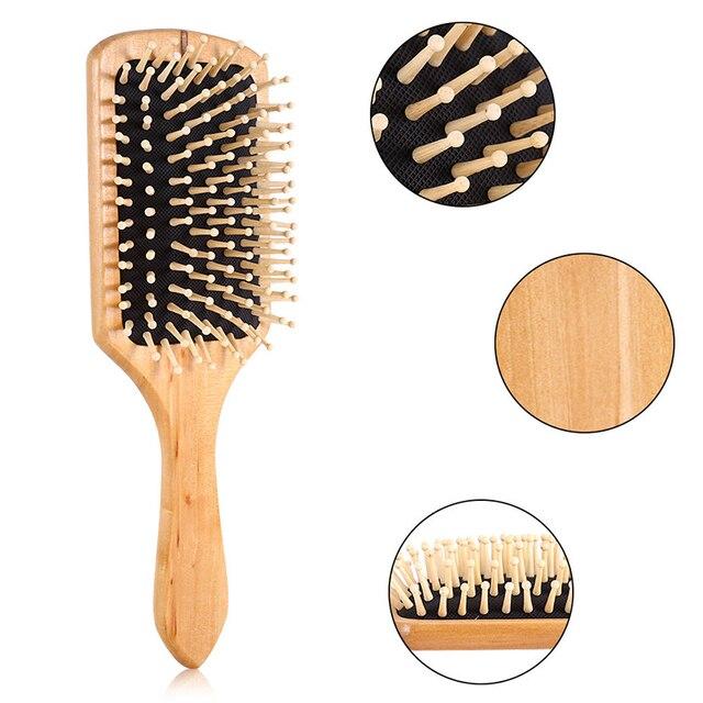 Massage Comb Paddle Brush Antistatic Combanti-static Natural Wooden Massage Hairbrush Comb Scalp Health Care Paddle Brush 2