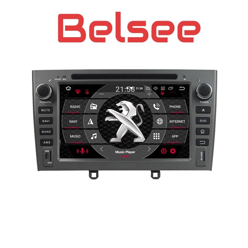 Belsee Autoradio Écran Tactile Android 8.0 Unité de tête de Voiture GPS Navigation Multimédia HD pour Peugeot 308 408 308SW 2007 -2010