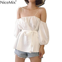 NiceMix Lantern Sleeve Strapless Off The Shoulder Tops for Women Summer Sweet Loose Halter Top Solid Color Preppy Style New Girl