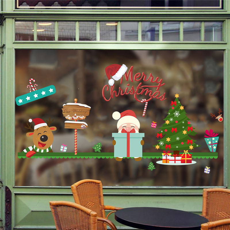 merry christmas decoration tree santa claus deer window wall sticker shop store gift wall decals 3d through wall poster