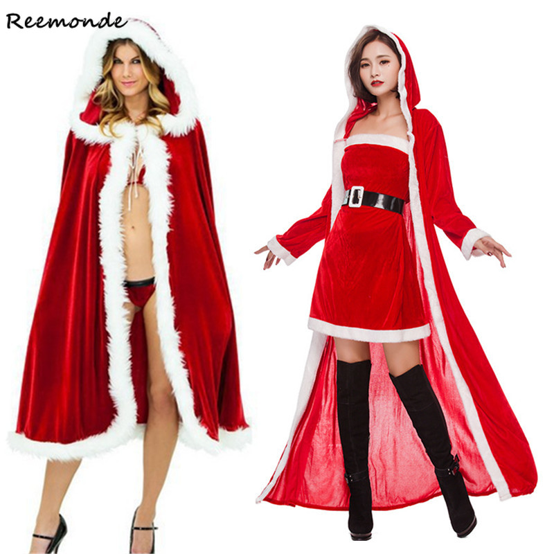 Christmas Cosplay Costumes Cashmere Velvet Dresses Robes Cloaks Belt Set Uniform For Adults Women Girls Halloween Party Clothes