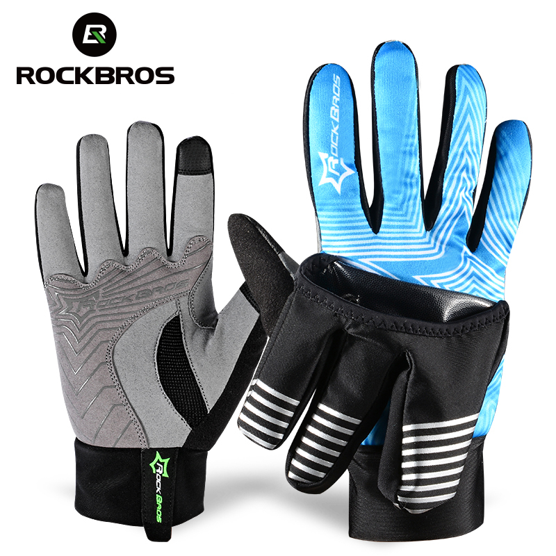 Rockbros glove 2 modes bike bicycle winter waterproof touch screen fleece warm gloves windproof cover professional