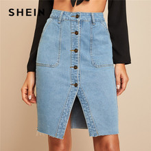 SHEIN Button Front Slit Hem Pocket Patch Denim Skirt Women Casual High Waist Pencil Skirt Ladies Spring Summer Solid Midi Skirt недорого