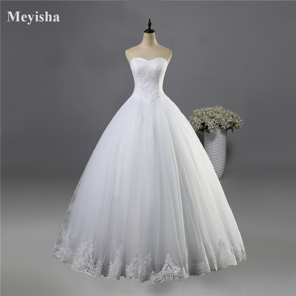 ZJ9014 2019 Fashion Beads Crystal White Ivory Wedding Dresses For Brides Plus Size Formal Sweetheart 2/4/6/8/10/12/14/16/18/20