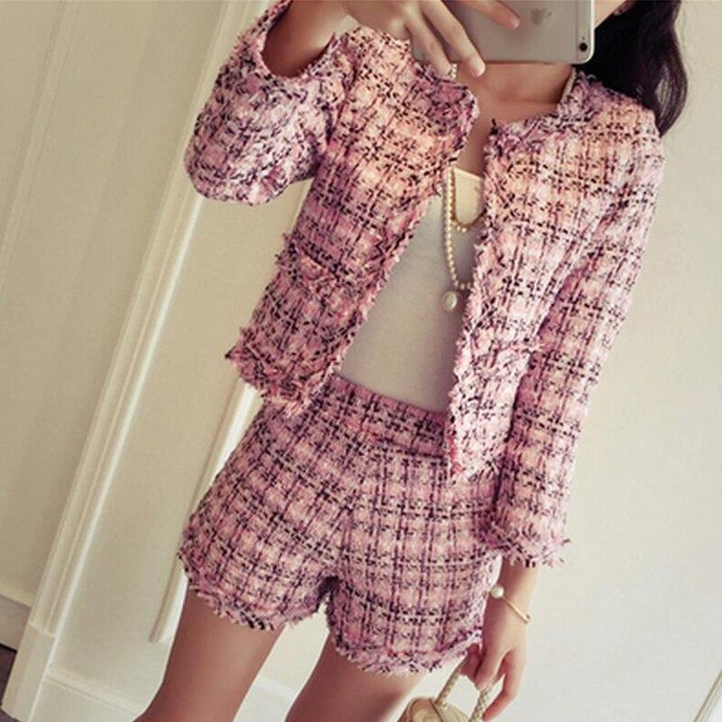 2018 Autumn Winter 2 Piece Set Women Slim Plaid Short Set Fashion Trim Jacket Coat + Tassels Short Skirt Female Suit Clothes