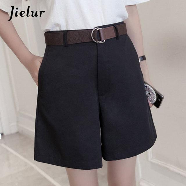 Jielur Shorts All-match 4 Solid Color Sashes Casual Shorts Women A-line High Waist Slim Short Femme Chic S-XXL Ladies Bottom 6