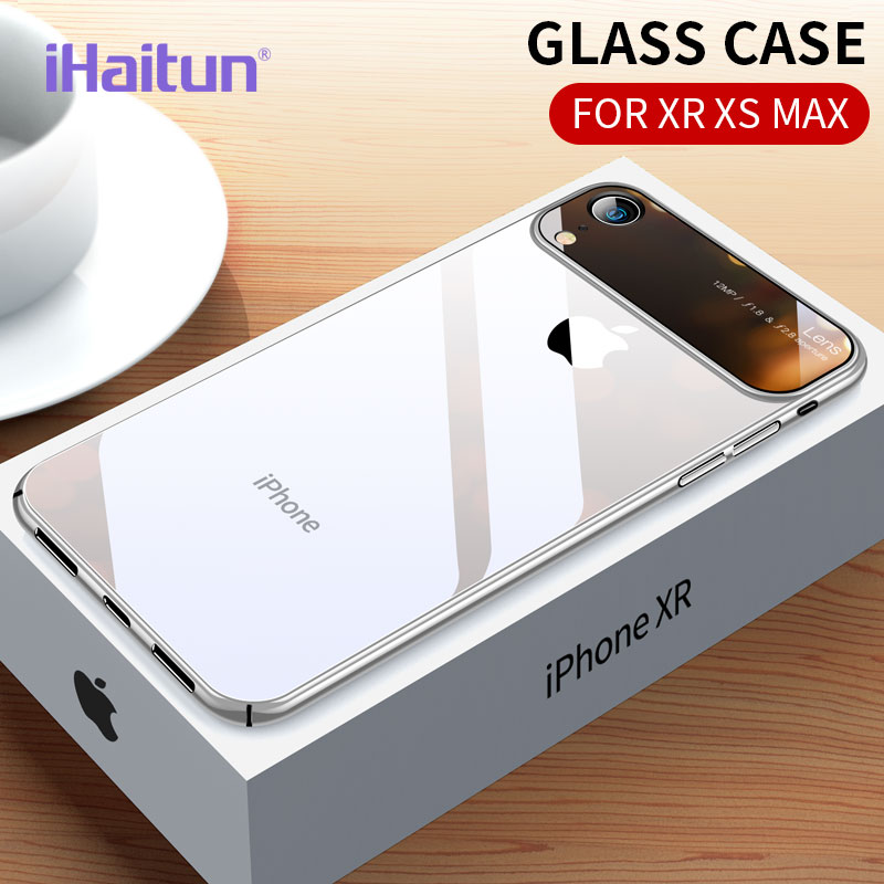 iHaitun Luxury Lens Glass Case For iPhone XS MAX XR Cases Ultra Thin PC Transparent Back X 10 7 8 Plus Cover