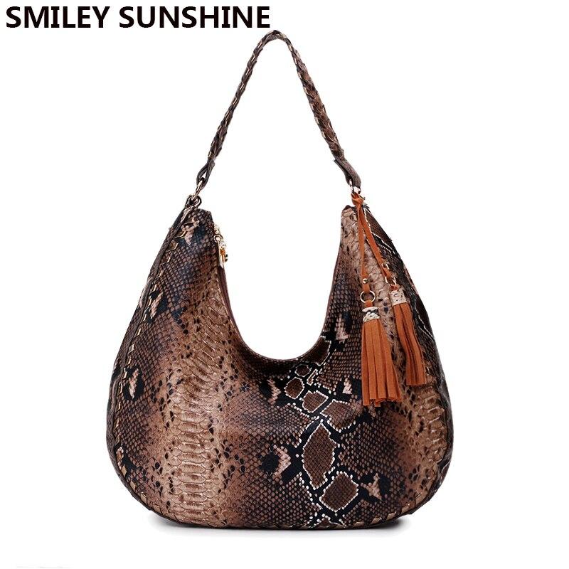 SMILEY SOLEIL marque nouvelles femmes d'épaule sacs serpentine sacs à main en cuir dames sacs fourre-tout femme grand haut-poignée sacs pour femmes