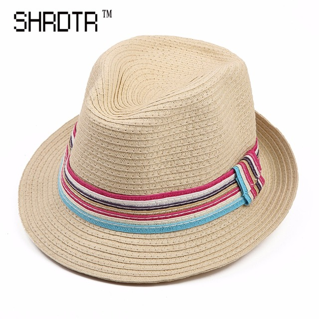 aaa1e2ba685 British style autumn ladies straw hat rainbow striped decoration sun hat  short eaves Panama caps Valentine s Day gift beach hat
