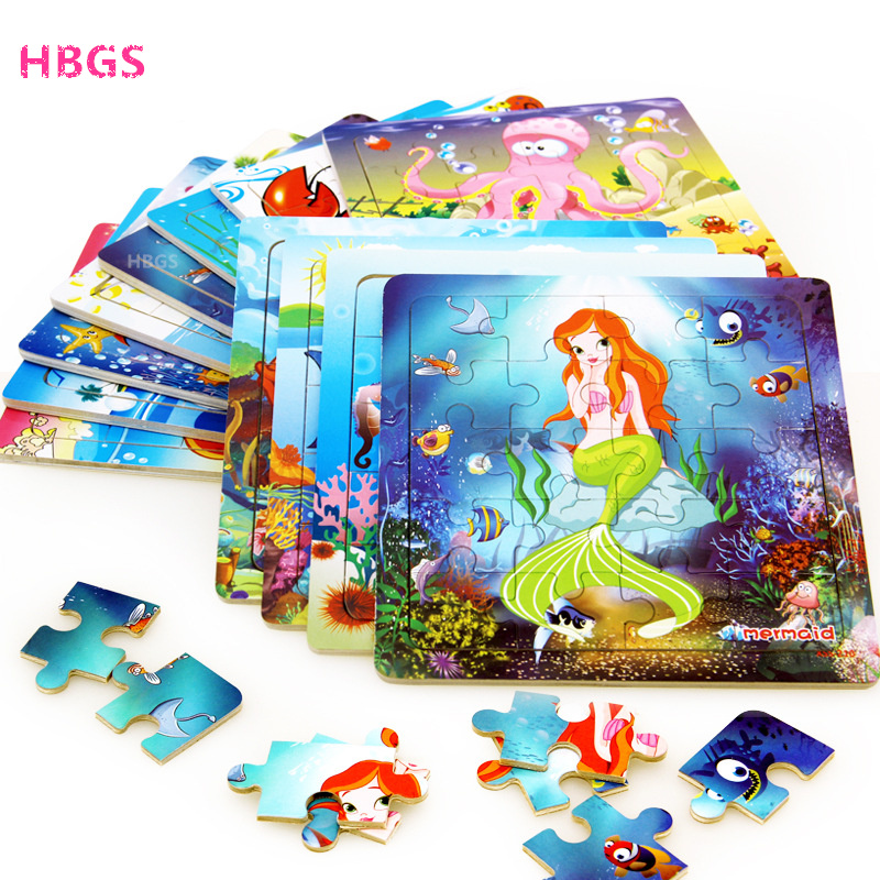 Hot Sale Mermaid Puzzle Toy Children Underwater World Wooden Puzzle Jigsaw Baby Educational Toys For Kids Gift