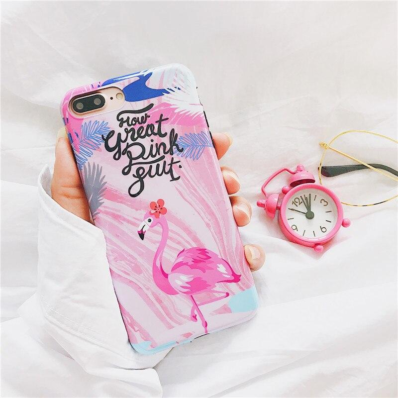 Симпатичные Фламинго чехол для телефона Мода Письмо в полоску растений субтитров мягкая IMD задняя крышка для iPhone X 7 8 6 6 S Plus ...