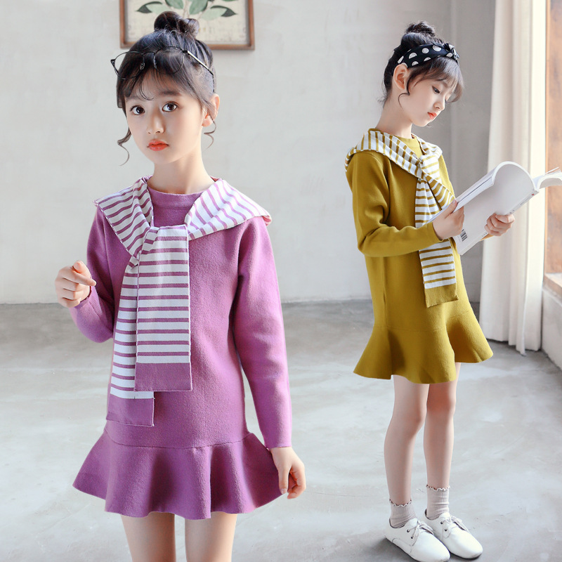 Girl Sweater Dress Size 4 - 14 T Autumn White Stripe Red Hooded Mini Dresses Kids Knitted Winter Clothes Christmas Costume 56A4A pink knitted backless off shoulder sweater mini dress