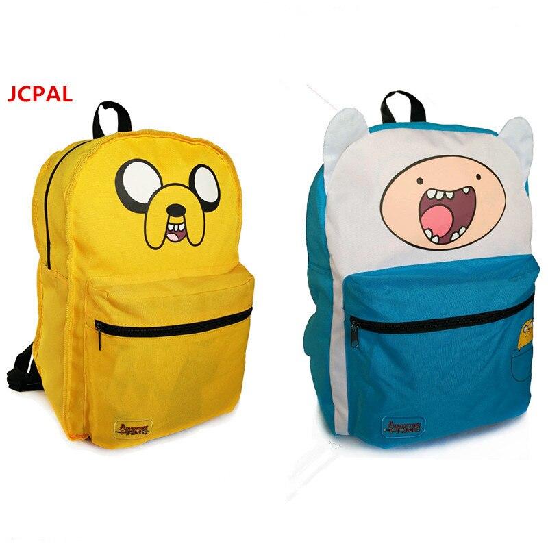 ФОТО  Students Backpack Adventure Time Bag Girls School Bags for Teenagers  Double Sided Cartoon boys Schoolbag satchel Knapsack