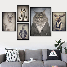 Fashion Cat Deer Antelope Zebra Wall Art Canvas Painting Nordic Poster And Print Animal Pictures For Living Room Home Decor