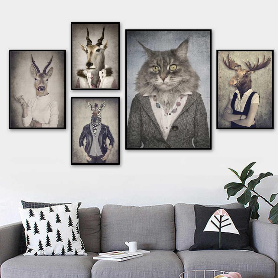 Carteles e impresiones de animales n/órdicos Pintura de lienzo de pez gato Cuadro abstracto para ni/ños Habitaci/ón Nursey Decoraci/ón de pared para adolescentes 60X60cm-Sin marco