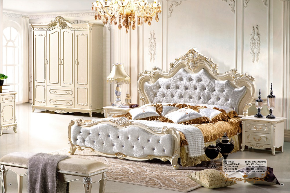 King Size Bed Modern Classic Luxury Antique Furniture Crystal Bed ...