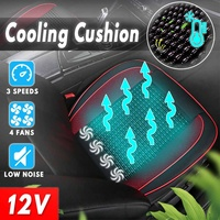 3 Speed Universal 4 Built in Fan 12V Cooling Wooden Beads Car Seat Cushion Cover with Air Ventilated Fan Conditioned Cooler Pad