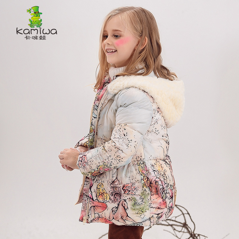 KAMIWA 2017 Girls Winter Coats Animal Print Wool like Hooded Thick Jackets Cotton padded Parkas Children