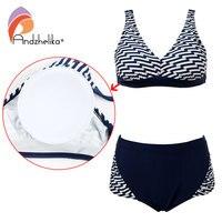 Andzhelika Plus Size Swimwear Women Sexy Bikinis Set High Waist Swimsuit Striped Fold Swimwear Bathing Suit