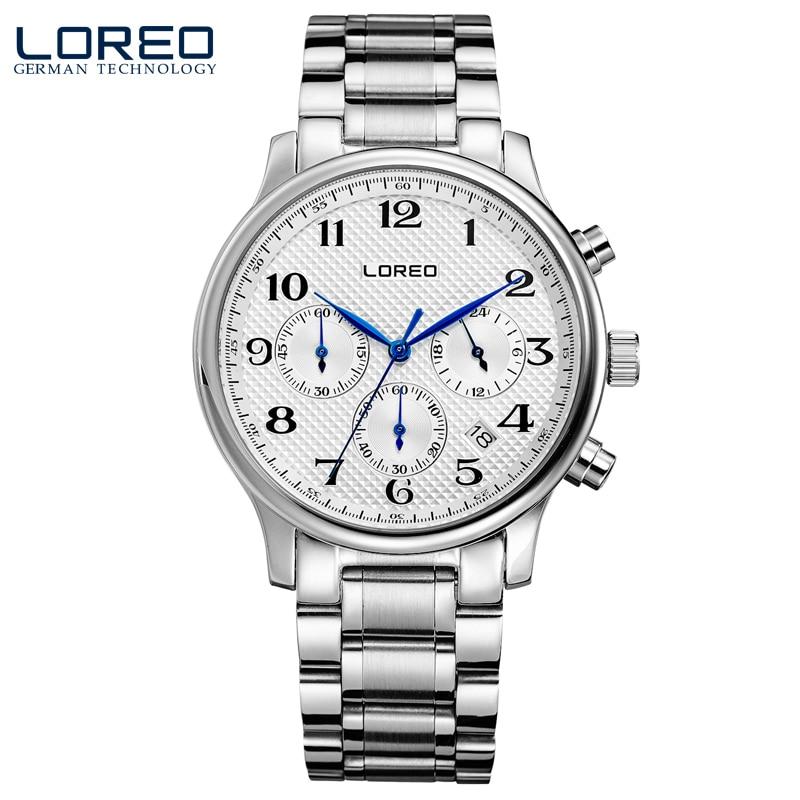 ФОТО LOREO quartz water resistant 5ATM white stainless steel Multifunction Calendar Chronograph