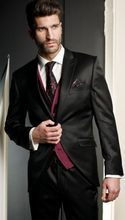2017 Latest Coat Pant Designs Black Wedding Suits for Men Slim Fit 3 Piece Tuxedo Custom Groom Blazer Prom Suit Terno Masculino