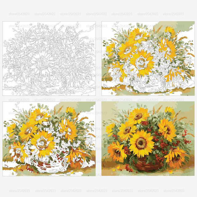 Online Shop RUOPOTY diy frame Colorful Sunflower DIY Painting By ...