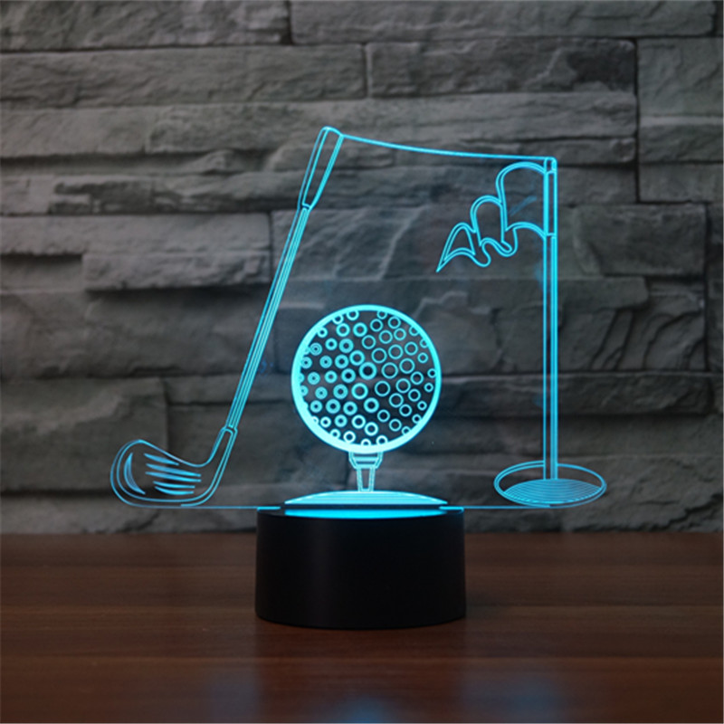 Foreign trade new golf frame seven color 3D night lamp LED acrylic visual gradient lamp touch illusion lamp As Kids Toy Gift image