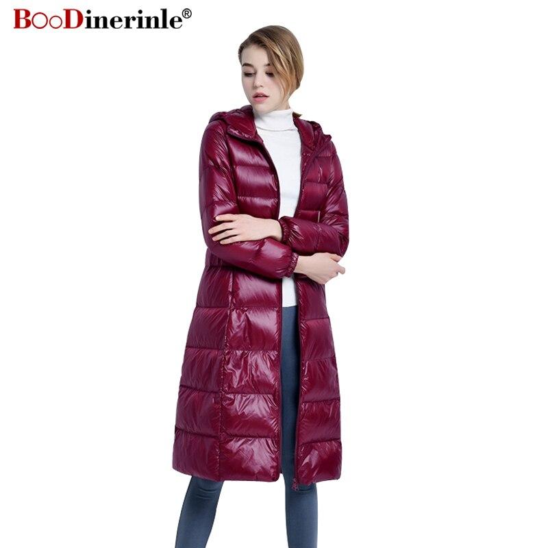 Women Ultra Light   Down   Jacket Long Puffer   Coat   Plus Size 3XL Winter Duck   Down     Coat   Collar Plus Lightweight Outwear Parka YR072
