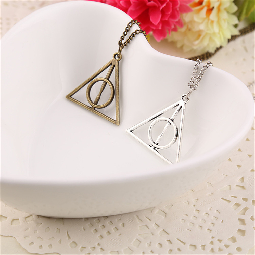 Vintage Harry Potter Pendant Necklace Rotate Deathly Hallows Friendship Valentine Gift Best Friend Necklace Jewelry Accessories