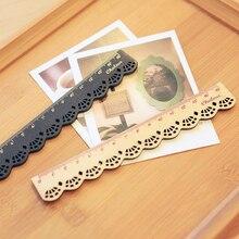 2PcsKorea Kawaii Stationery Lace Brown Wood Ruler Sewing Ruler Office&School Supplies art supplies plastic ruler quilting ruler