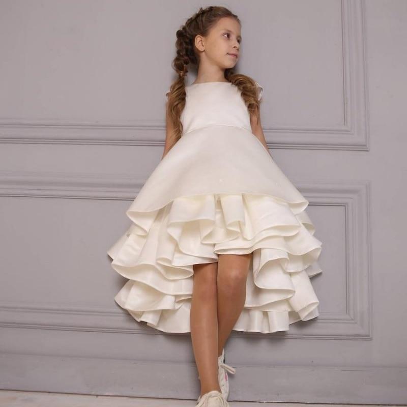 Adorable Hi Lo   Flower     Girl     Dresses   For Wedding 2019 Cap Sleeve Tiered Ruffles Satin Communion   Dress   Cheap vestidos de fiesta