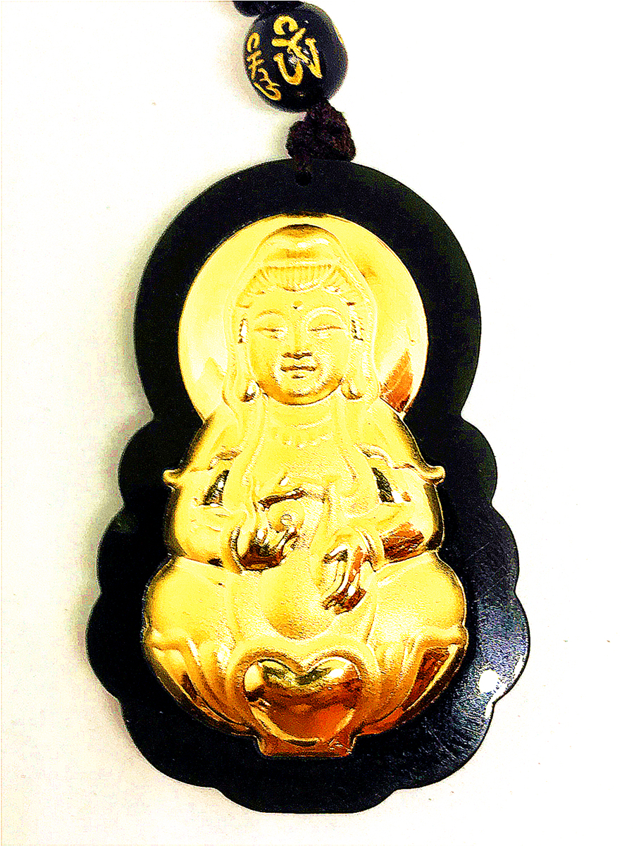 24K Yellow Gold Hetian Dark Green Jade Buddha Amulet Lucky Pendant Necklace harbll ar pendant accessories gold plated double gourd glass beads amulet for safe driving lucky blessing car pendant