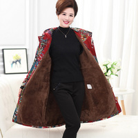 2018 new winter thick women trench coats floral retro long lady hooded coats velvet trench casaco feminino big plus size XL~6XL