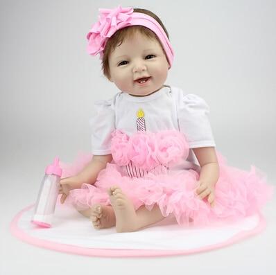 Здесь можно купить   New 55cm silicone reborn baby doll kids baby girls birthday holiday gift children brinquedos doll toys Игрушки и Хобби