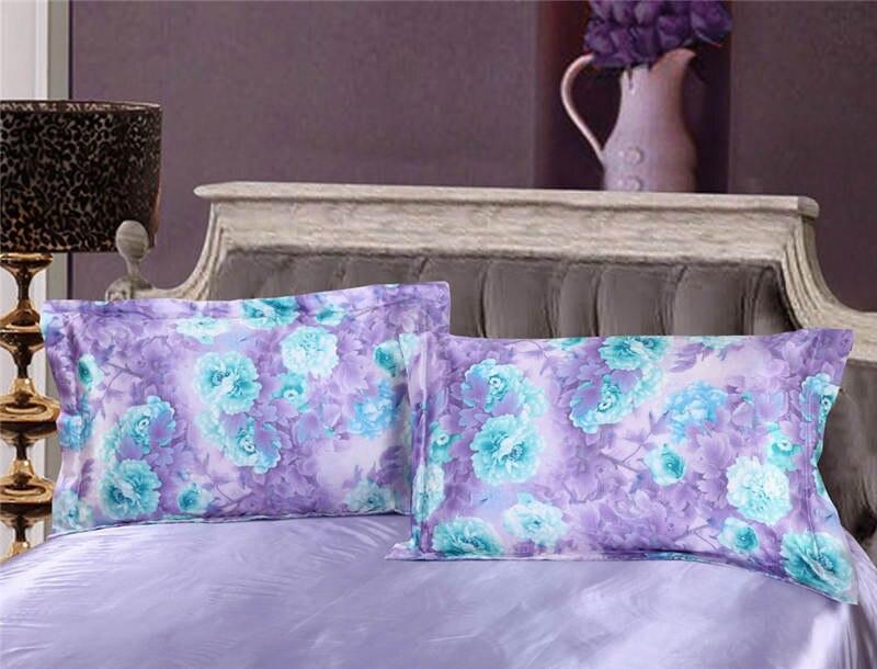 Satén de seda conjunto de sábanas edredón cubre colcha doble reina completa king size dormitorio decoración púrpura azul flor estilo chino - 2