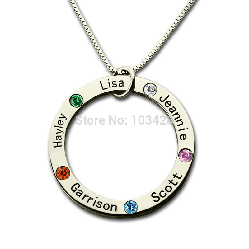 AILIN Personalized Family Name Necklace Silver Mom Necklace Engraved Kids Name Pendant Birthstone Necklace for Mother цена и фото