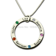 купить Personalized Family Name Necklace Silver Mom Necklace Engraved Kids Name Pendant Birthstone Necklace for Mother по цене 1451.25 рублей